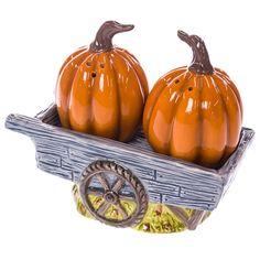 Stoneware Pumpkin Wagon Salt and Pepper Shaker Set | Collections | Harvest…