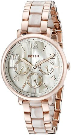Fossil Women's ES3921 Pearlescent Rose Gold-Tone Stainless Steel Watch