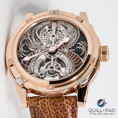 Louis Moinet Dragon Tourbillon 0298 - There is engraving and then there's engraving. The sensational dragon takes well over a week (50 hours) to hand engrave from solid white gold. Behind the dragon lies a dial crafted from what is believed to be a piece of 150 million-year-old fossilized dinosaur bone. All that and a tourbillon too!