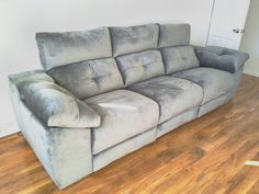 Meridian 3 seat sofa in fabric. Sofa with three electric reclining seats, adjustable headrests, and storage armrests. Delivered to our client in London. Modern Sofa, Modern Bedroom, Contemporary Furniture, Leather Bed, Reclining Sofa, House Layouts, Sofa Design, Recliner, Sofas