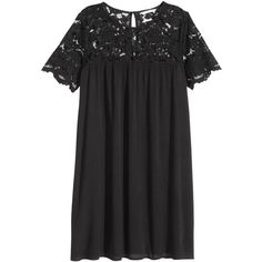 Dress with Lace Yoke $39.99 ($40) ❤ liked on Polyvore featuring dresses, h&m, short sleeve dress, short lace dress, mini dress, woven dress and sleeve dress