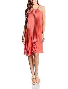 UK 10, Orange - Orange (Coral), Molly Bracken Women's Y018e16 Sleeveless Dress N