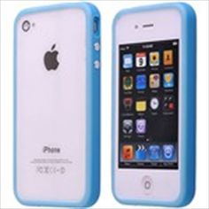 Light Blue TPU Bumper Frame Trim Case Cover with Metal Buttons for iPhone 4 4G