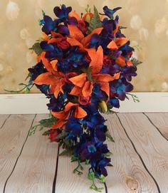 Fall Bouquet- Cascade Orchid Bouquet. Orange, Blue, Purple, Red @ www.etsy.com/shop/3Mimis on Etsy