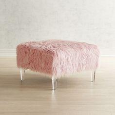 Pier 1 Imports Pisa Blush Faux Fur & Acrylic Square Ottoman