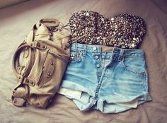 High Waisted Denim with Beaded Top. Obsessed.