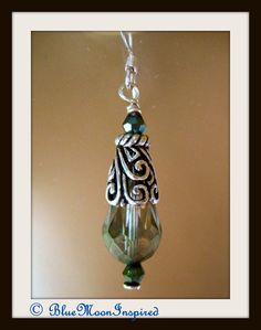 999 Silver Ear wire Green AB faceted by BlueMoonInspired13 on Etsy, $30.00