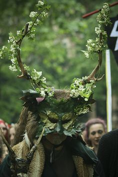 Dressed as the Green Man/Horned God for a May Day festival