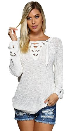 This sweater is a perfect transitional piece for Spring. Super soft cotton/poly, it features a lace-up v-neck, faux laced wrist details, and provides an easy fit. Latest Outfits, Mom Outfits, Summer Outfits, Casual Outfits, Street Style, Ootd, Trendy Clothes For Women, Celebrity Outfits, White Sweaters