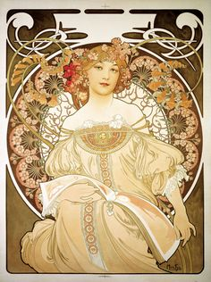 This is an 1898 poster advertising Alphonse Mucha's primary printer and lithographer Ferdinand Champenois. The beautiful peasant woman in a neoclassical gown, the floral motif (especially in the hair) and the classical design of the gown (in this case Egyptian) are typical Mucha design elements. This pin links to a brief but fascinating bio of Alphonse Mucha.