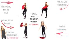 Total Body Tone Up With a Cushion - This 4 minute sculpting home workout not only helps tone you up it also increases your calorie burn and helps improve your balance and flexibility, and these 4 exercises for women are great full body sculpting moves . Fitness Workouts, Yoga Fitness, At Home Workouts, Fitness Motivation, Physical Fitness, Training Workouts, Kettlebell Training, Sport Motivation, Workout Routines