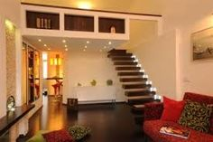 design by Xenia Studio Living room Floating stair Painted Stairs, Wooden Stairs, Studio Living, Living Room, Entryway Stairs, Iron Stair Railing, Building Stairs, Contemporary Stairs, Small Condo
