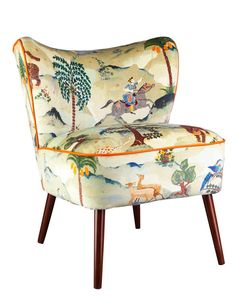 Bartholomew Vintage Style Cocktail Chair in Aesop Fable Velvet – Galapagos Furniture