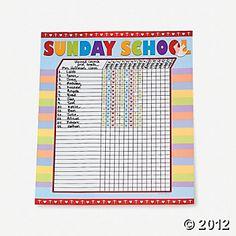 FreeSundaySchoolAttendanceForms  Attendance Chart  Sunday