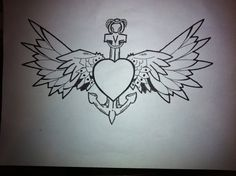 anchor hart wings by ~Lokisfire on deviantART. I like the idea of the wings on the anchor. Joey keeps me grounded, stable, and is my constant in life. Not sure if the wings would be too much for such a small space