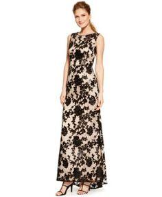 Vince Camuto Cutout-Back Floral Lace Gown-$308.00