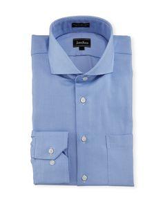 Neiman Marcus Classic-Fit Regular-Finish Textured Dress Shirt, Light Blue, Men's, Size: 16.5 32/33
