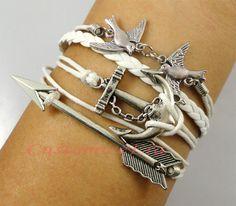 Antique silver --Anchor bracelet,bird bracelet, arrow bracelet, braid leather bracelet. $4.99, via Etsy.