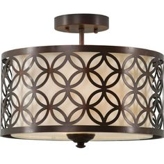 Allen + Roth Earling 15-in W Oil-Rubbed Bronze Fabric Semi-Flush Mount Light