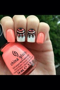 Bright coral with design.