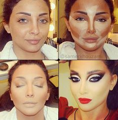 The magic of makeup! #contour #highlight For the girl who wants to look like a drag queen;-))