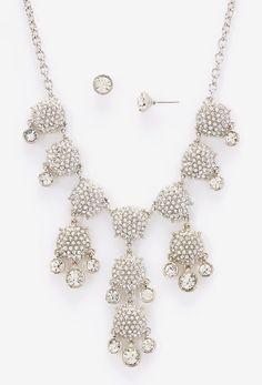 Silver & Crystal Bubble Bib Necklace & Stud Earrings