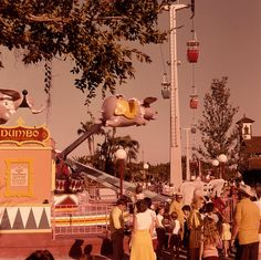 Vintage photo of the Skyride and Dumbo the Flying Elephant, Fantasyland, Magic Kingdom - I think I rode this a million times. LOVED the Skyway!