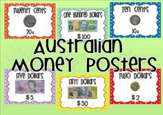 Money posters Teaching Money, Teaching Math, Maths, Teaching Ideas, Australian Money, Money Games, Numeracy, Matching Games, Classroom Themes