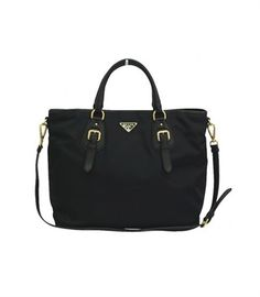 10f97dbe250a Black Prada Nylon Tote Bag with Golden Hardware  Handbags  PRADA   Designer Handbags