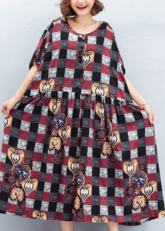 e3a0845170 Beautiful o neck large hem linen quilting dresses To Get design red Plaid  Art Dress summer
