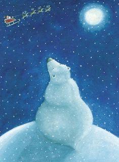 Polar Bear pondering Santa and his Reindeer by Susan Mitchell Christmas Time Is Here, Noel Christmas, Christmas Animals, Father Christmas, Christmas Pictures, Winter Christmas, Vintage Christmas, Illustration Noel, Winter Illustration