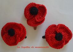 fleur coquelicot rouge et noir au crochet : Accessoires coiffure par les-layettes-de-mamounette
