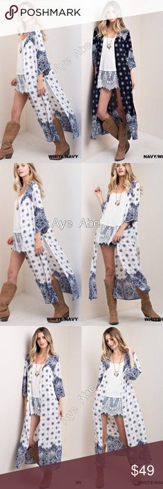 White Duster print cardigan paisleys boho slit Duster print cardigan open front paisleys boho chic slit. New boho chic print long duster cardigan light coverup. Super comfy. Woven fabric. Choose from Navy mix  or white mix. Sweaters Cardigans