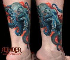 Rember, Dark Age Tattoo Studio - Realistic Octopus Tattoo