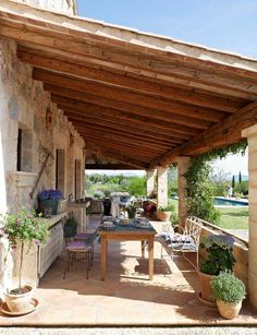 perfect patio ideas for your outdoor living room page 17 Outdoor Rooms, Outdoor Living, Outdoor Patios, Outdoor Kitchens, Indoor Outdoor, Yellow Houses, Stone Houses, Spanish Style, Backyard Patio