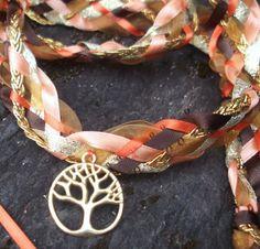 Wedding Handfasting Cord - Autumn Fall Tree of Life Orange Gold Brown