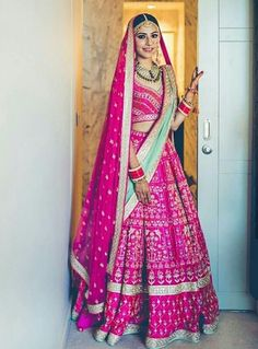 All Indian Bride used to very excited about there wedding shopping. When its come to Bridal lehenga bride used to visit the market, brand and online to Pink Bridal Lehenga, Lehenga Wedding, Designer Bridal Lehenga, Pink Lehenga, Indian Bridal Lehenga, Bridal Lenghas, Bridal Dupatta, Bridal Chura, Indian Bridal Outfits