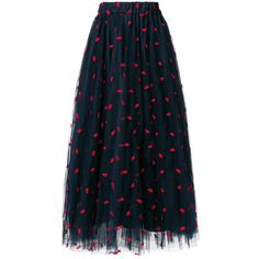 p.a.r.o.s.h. Lip Embroidered Tulle Skirt (€410) ❤ liked on Polyvore featuring skirts, mid length skirts, lip skirt, blue skirts, high waisted knee length skirt and elastic waistband skirt