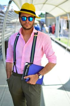 Hat, sunglasses, suspenders, watch