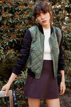 Silence + Noise Quilted Bomber Jacket - Urban Outfitters