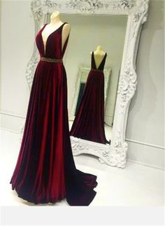Sexy Plunging Neckline Long Burgundy Silk Satin Prom Dress Beading Sash