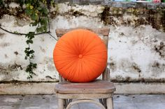 Orange tangerine cotton round pillow 16 by fulyad on Etsy