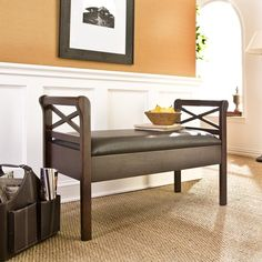 $220 SEI Warrenton Espresso Storage Bench with Black Faux Leather Seat - Indoor Storage Benches at Just Storage Benches