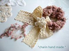 * Charin Hand made *ふわふわピンクシュシュ/リボンレース