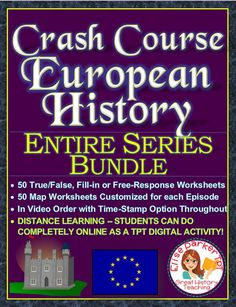 Crash Course European History Worksheets for the entire series provides you with 50 separate worksheets, one for each episode, plus a map worksheet to go with each episode! ALL WORKSHEETS CAN BE DONE FULLY ONLINE FOR DISTANCE LEARNING! Includes detailed answer keys and a time-stamp option for every question, with a variety of worksheet types to keep student interest high! #crashcourseuro #crashcourseworldhistory #europeanhistory #worldhistory #teachwithvideo #eliseparkertpt #crashcourse