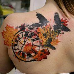 Fall Time Trash Polka tattoo on Back