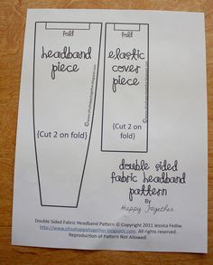 Fabric Headband Sewing Pattern Template   you print out your pattern cut the pattern pieces out