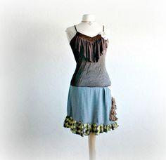 Boho Chic Upcycled Dress Dark Brown Ruffle par BrokenGhostClothing, $66.00
