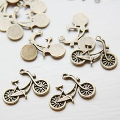 10pcs Antique Brass Base Metal CharmsBike 26x19mm by clbeads, $1.90
