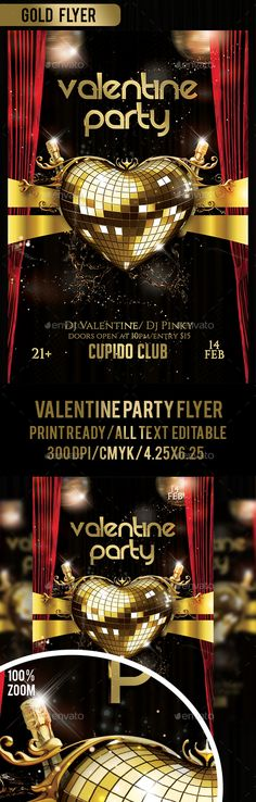 Valentine Gold Party Flyer Template PSD. Download here: http://graphicriver.net/item/valentine-gold-party-flyer/14575541?ref=ksioks